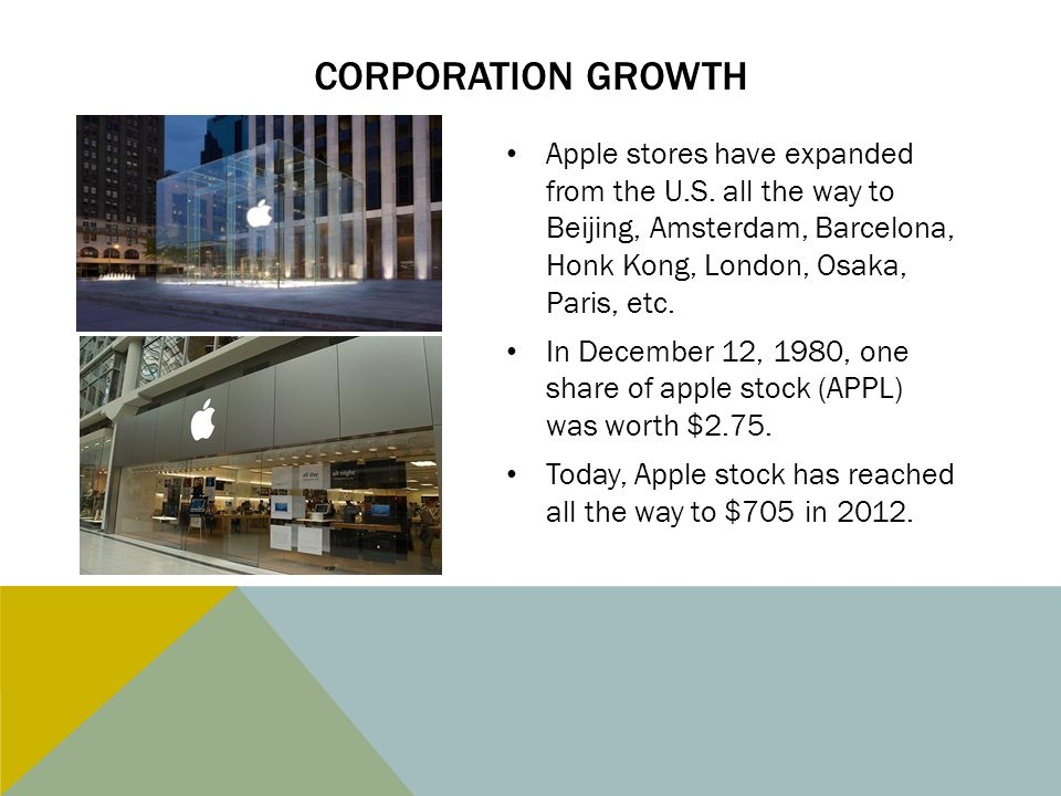 CORPORATION GROWTH Apple stores have expanded from the U.S. all the way to Beijing, Amsterdam, Barcelona, Honk Kong, London, Osaka, Paris, etc. In Dec