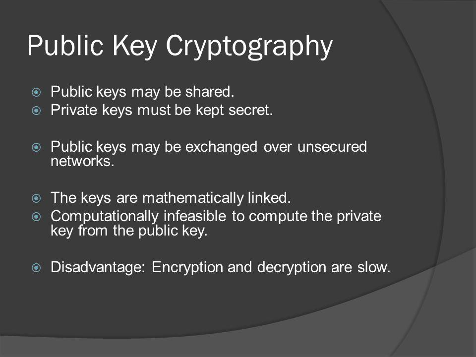 Public Key Cryptography  Public keys may be shared.