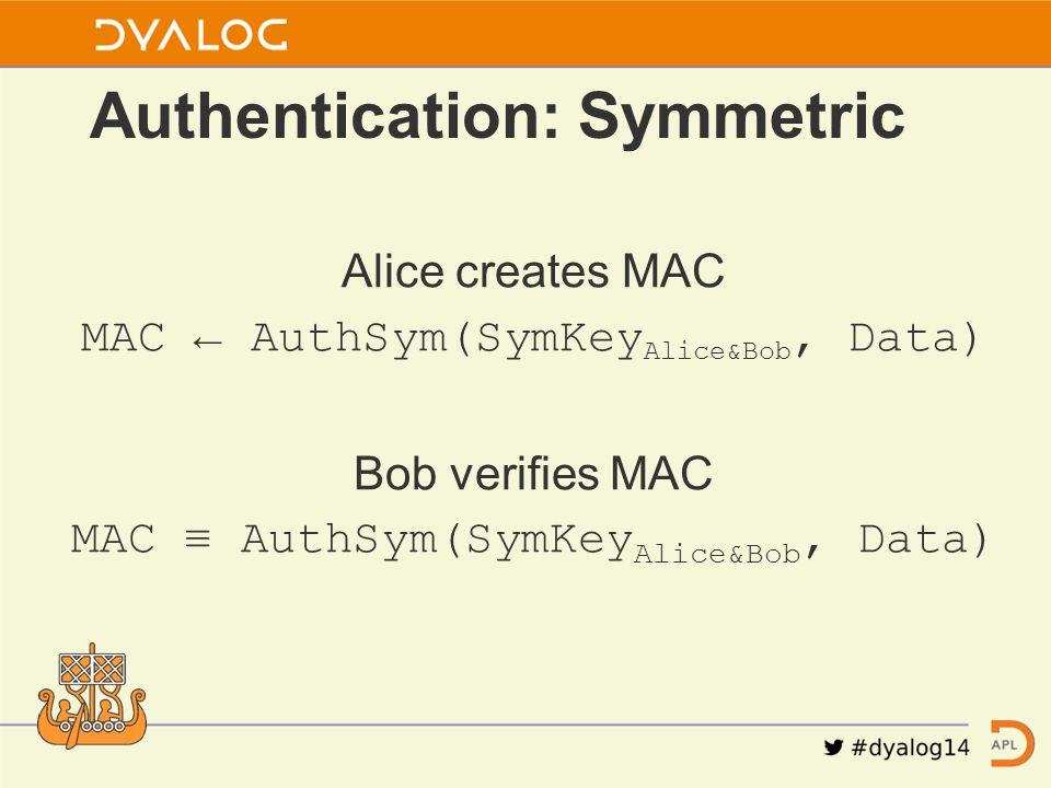Alice creates MAC MAC ← AuthSym(SymKey Alice&Bob, Data) Bob verifies MAC MAC ≡ AuthSym(SymKey Alice&Bob, Data) Authentication: Symmetric