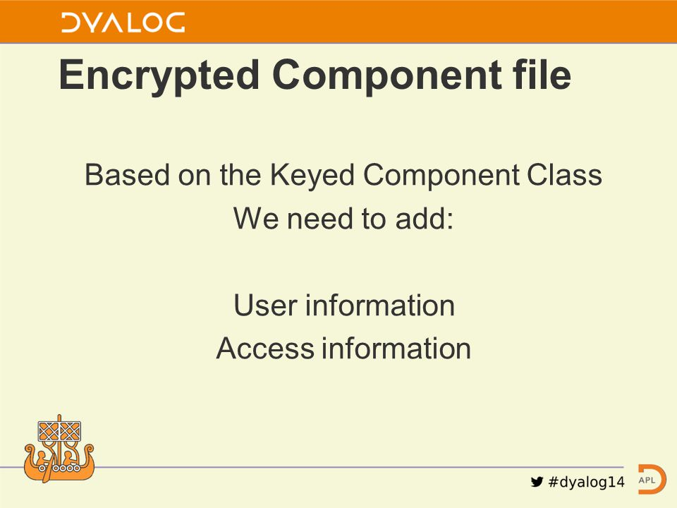 Based on the Keyed Component Class We need to add: User information Access information Encrypted Component file