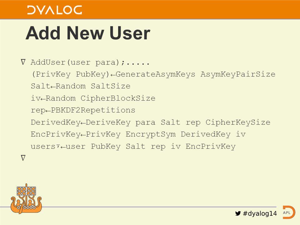 ∇ AddUser(user para);.....