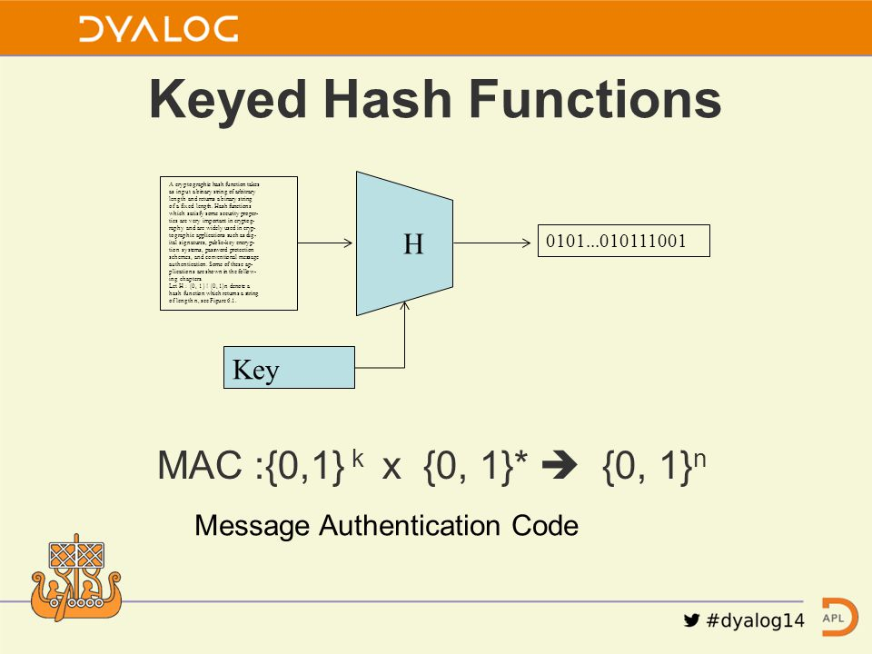 Keyed Hash Functions A cryptographic hash function takes as input a binary string of arbitrary length and returns a binary string of a fixed length. H