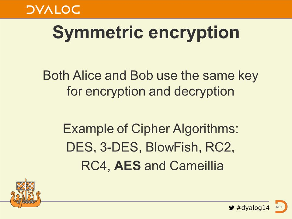 Both Alice and Bob use the same key for encryption and decryption Example of Cipher Algorithms: DES, 3-DES, BlowFish, RC2, RC4, AES and Cameillia Symm