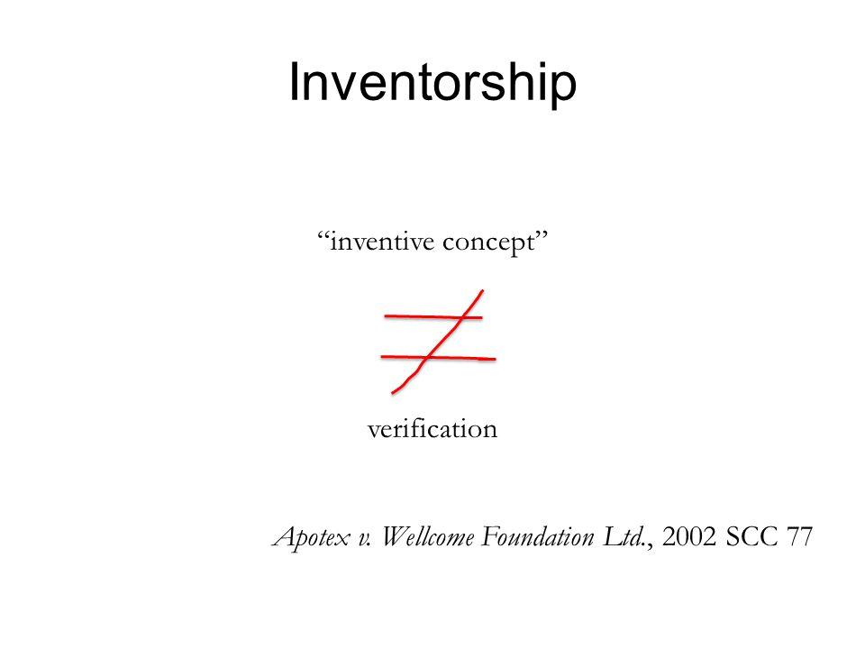 Inventorship inventive concept verification Apotex v. Wellcome Foundation Ltd., 2002 SCC 77