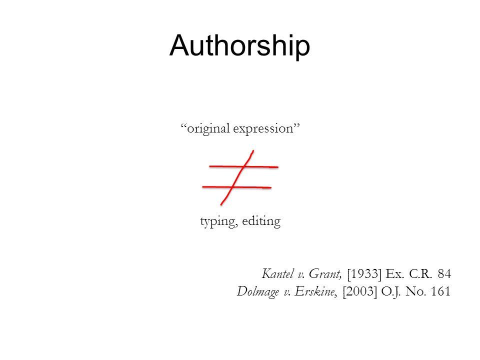 Authorship original expression typing, editing Kantel v.