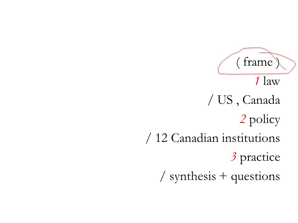 ( frame ) 1 law / US, Canada 2 policy / 12 Canadian institutions 3 practice / synthesis + questions