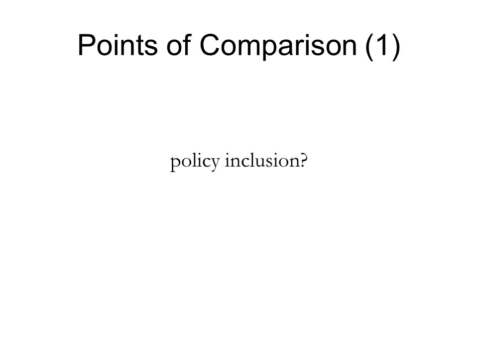 Points of Comparison (1) policy inclusion