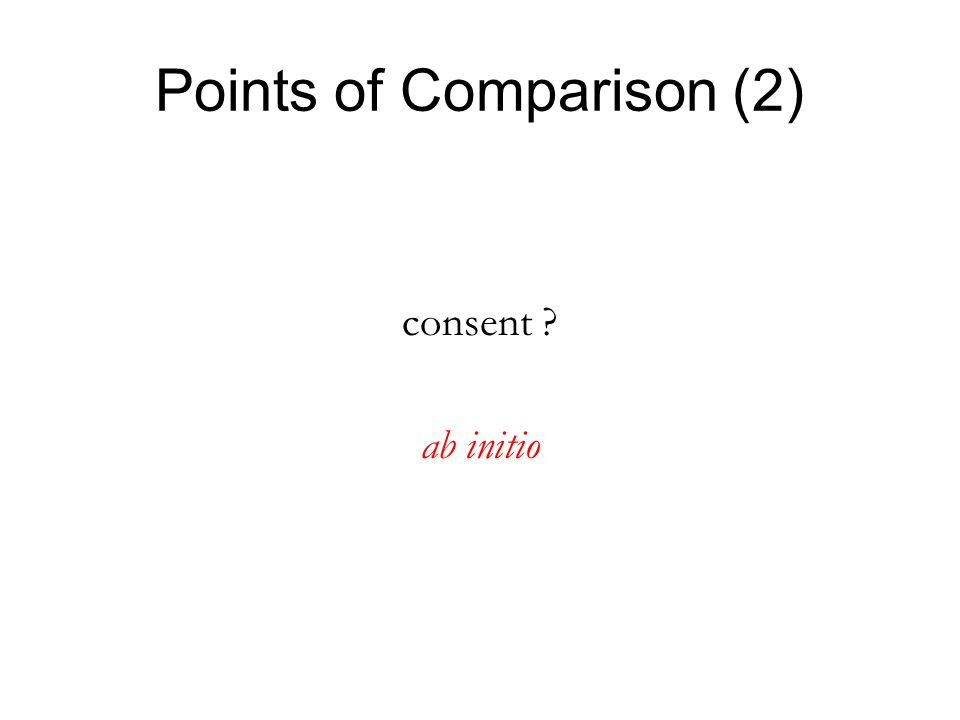 Points of Comparison (2) consent ab initio
