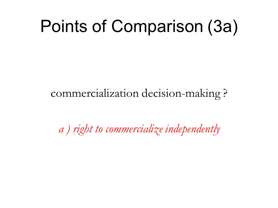 Points of Comparison (3a) commercialization decision-making ? a ) right to commercialize independently