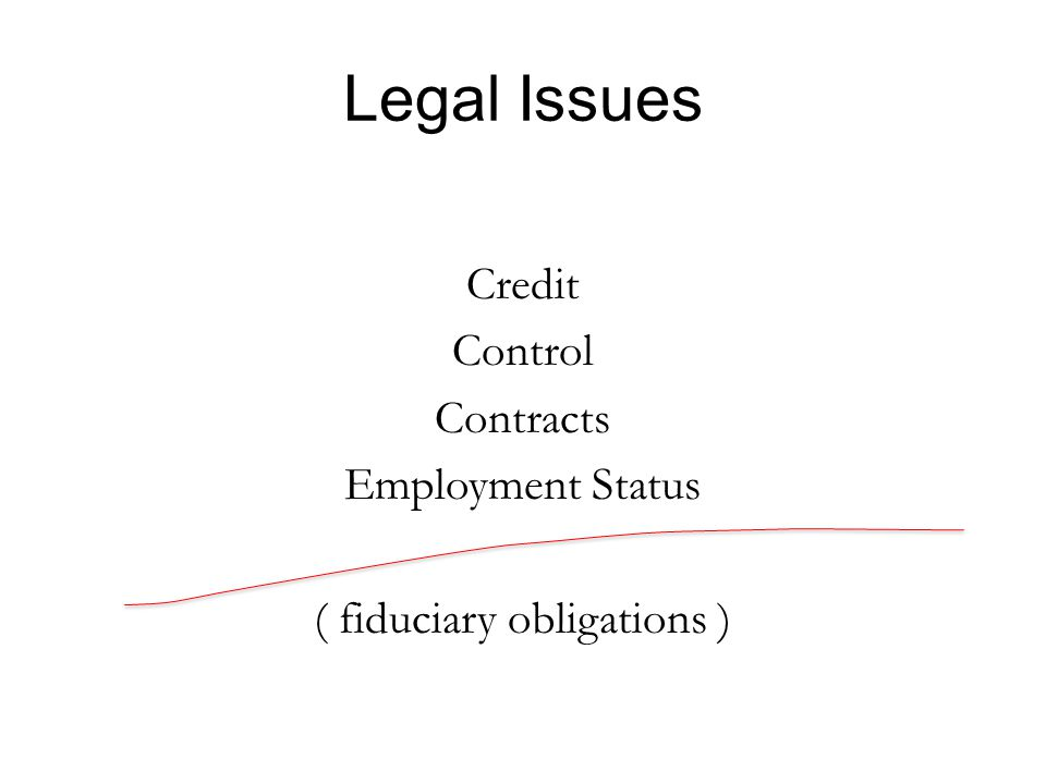 Legal Issues Credit Control Contracts Employment Status ( fiduciary obligations )