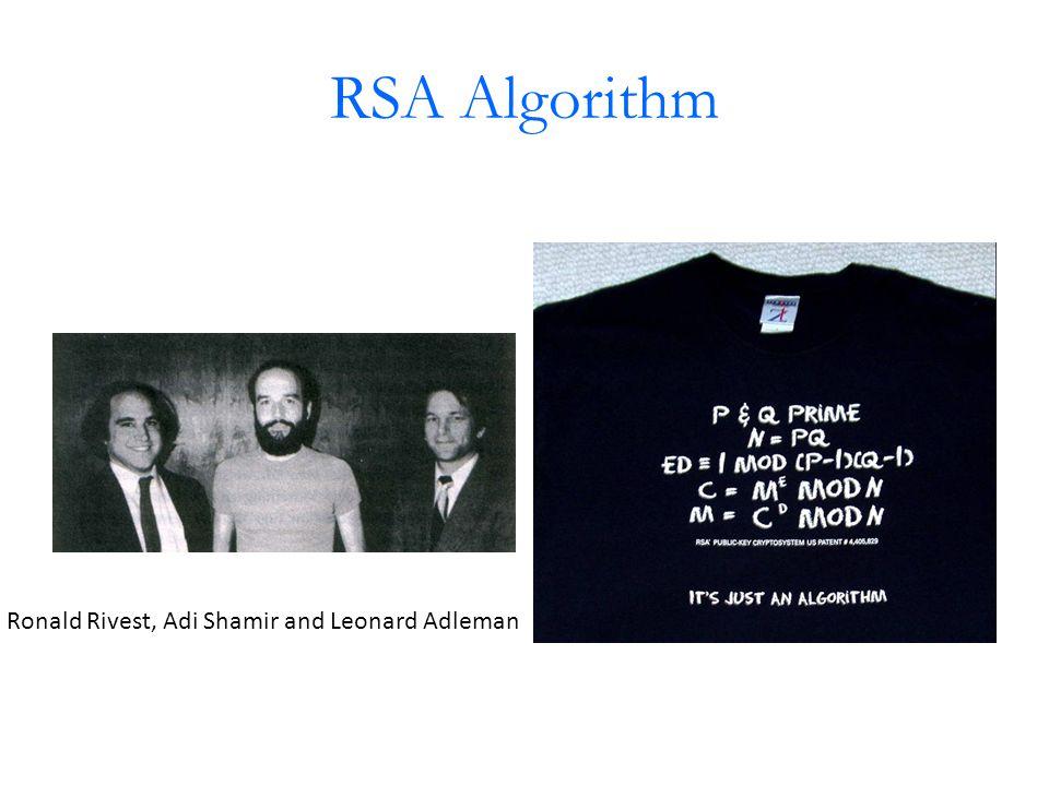 RSA Algorithm Ronald Rivest, Adi Shamir and Leonard Adleman