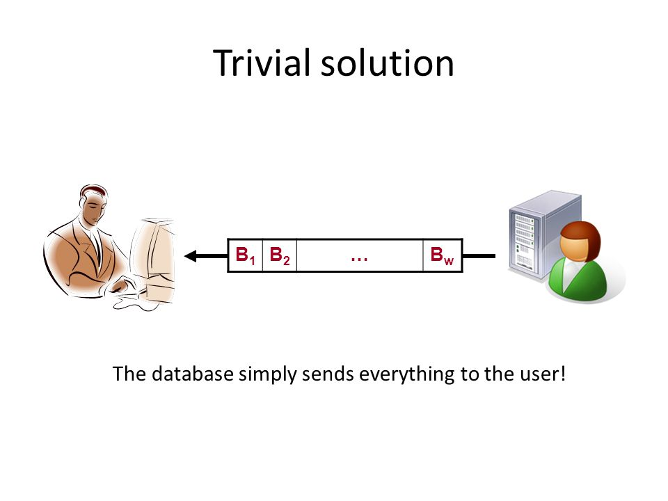 Trivial solution B1B1 B2B2 …BwBw The database simply sends everything to the user!