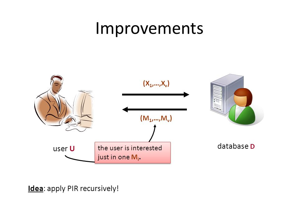 Improvements user U database D (X 1,…,X v ) (M 1,…,M v ) the user is interested just in one M i.