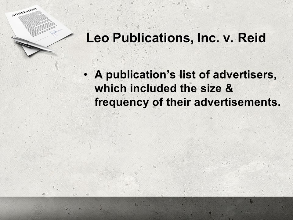 Leo Publications, Inc. v. Reid A publication's list of advertisers, which included the size & frequency of their advertisements.