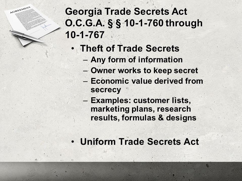 Georgia Trade Secrets Act O.C.G.A.