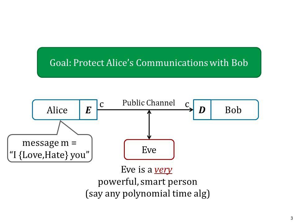 Asymmetric Cryptography 14 k e != k d Encryption Example: – Alice generates private (K d )/public(K d ) keypair.