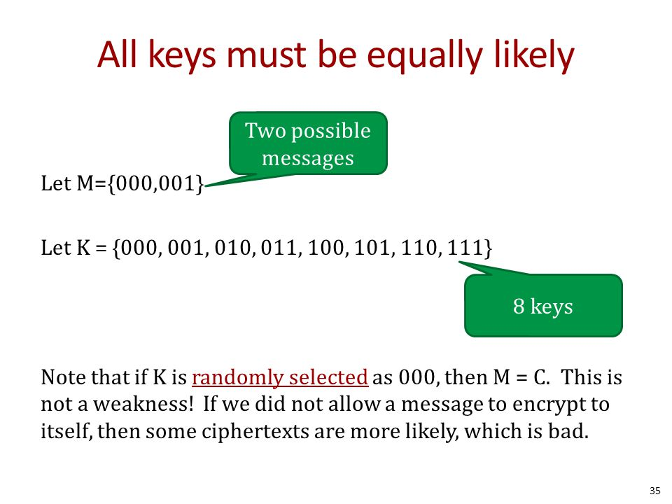 All keys must be equally likely Let M={000,001} Let K = {000, 001, 010, 011, 100, 101, 110, 111} Note that if K is randomly selected as 000, then M = C.