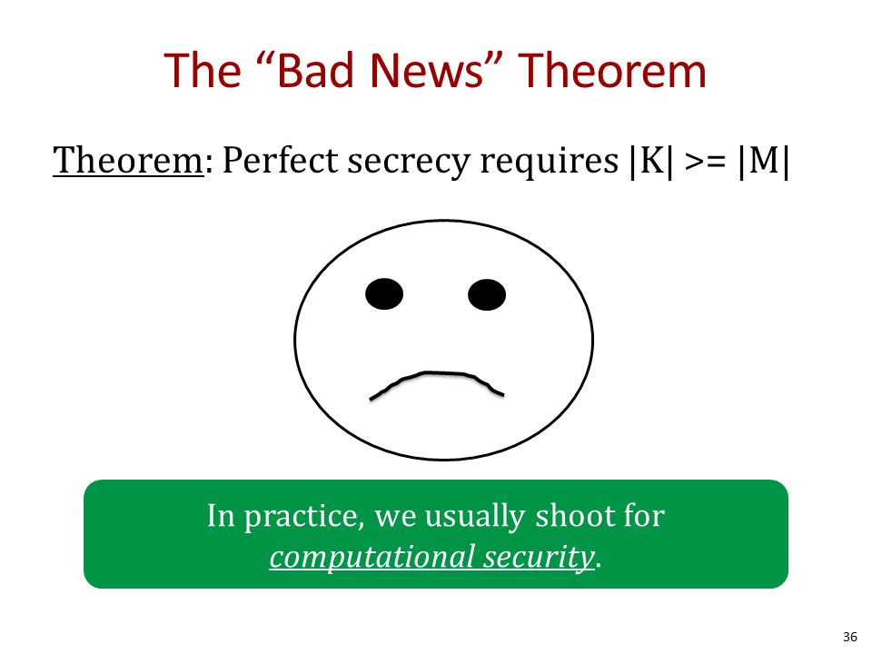 "The ""Bad News"" Theorem Theorem: Perfect secrecy requires 