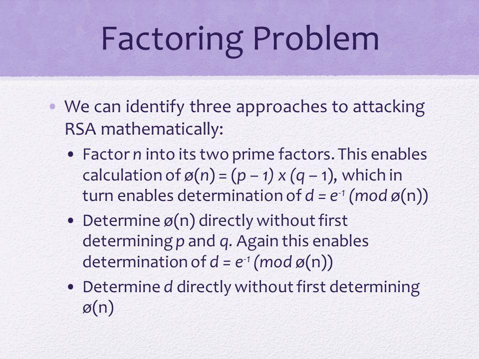 Table 9.5 Progress in RSA Factorization