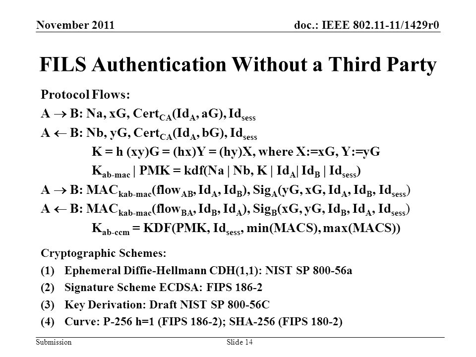 doc.: IEEE 802.11-11/1429r0 Submission FILS Authentication Without a Third Party Protocol Flows: A  B: Na, xG, Cert CA (Id A, aG), Id sess A  B: Nb, yG, Cert CA (Id A, bG), Id sess K = h (xy)G = (hx)Y = (hy)X, where X:=xG, Y:=yG K ab-mac | PMK = kdf(Na | Nb, K | Id A | Id B | Id sess ) A  B: MAC kab-mac (flow AB, Id A, Id B ), Sig A (yG, xG, Id A, Id B, Id sess ) A  B: MAC kab-mac (flow BA, Id B, Id A ), Sig B (xG, yG, Id B, Id A, Id sess ) K ab-ccm = KDF(PMK, Id sess, min(MACS), max(MACS)) Cryptographic Schemes: (1)Ephemeral Diffie-Hellmann CDH(1,1): NIST SP 800-56a (2)Signature Scheme ECDSA: FIPS 186-2 (3)Key Derivation: Draft NIST SP 800-56C (4)Curve: P-256 h=1 (FIPS 186-2); SHA-256 (FIPS 180-2) November 2011 Slide 14