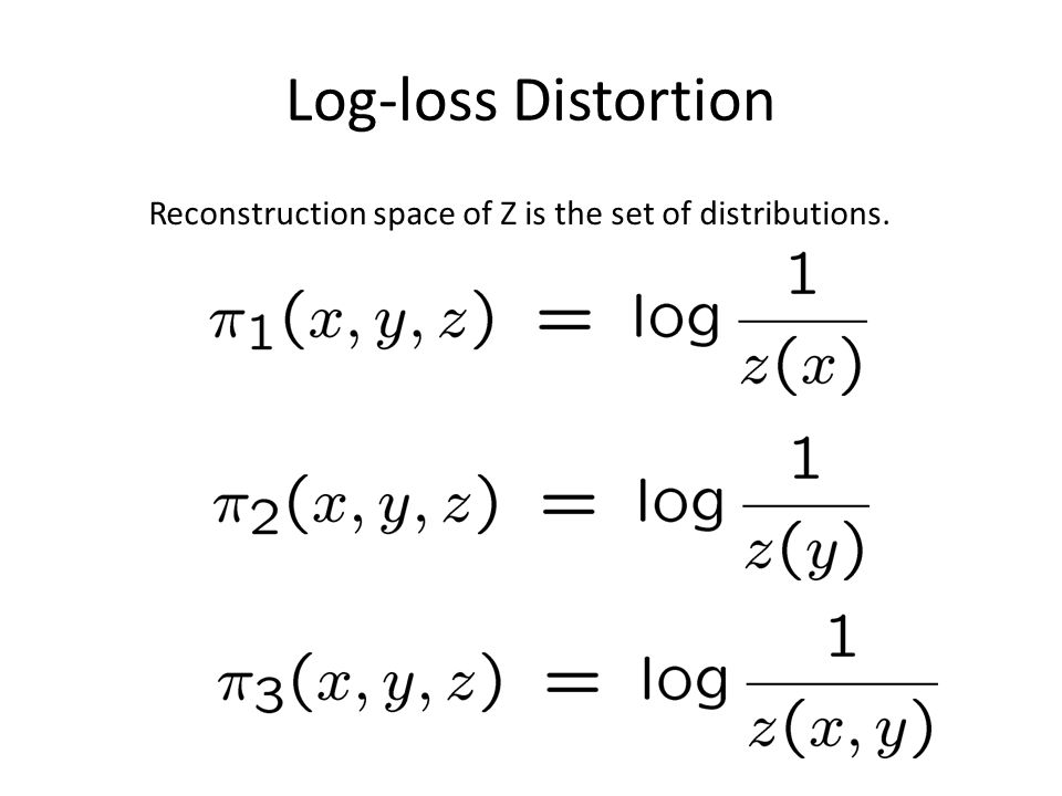 Log-loss Distortion Reconstruction space of Z is the set of distributions.