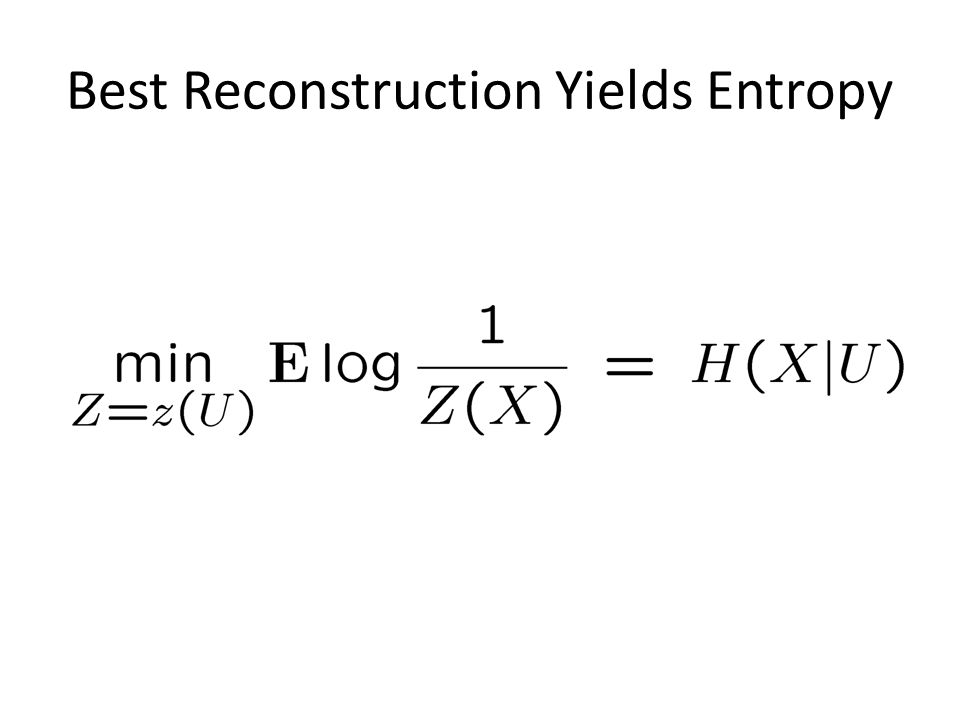 Best Reconstruction Yields Entropy