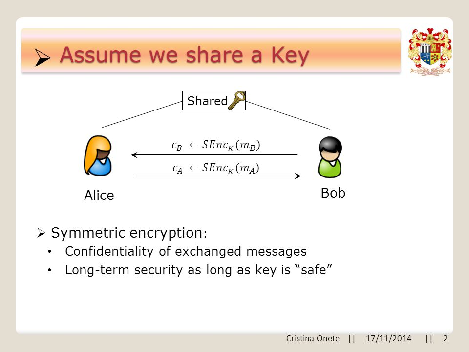  Assume we share a Key Alice Bob  Symmetric encryption : Confidentiality of exchanged messages Cristina Onete || 17/11/2014 || 2 Shared Long-term security as long as key is safe