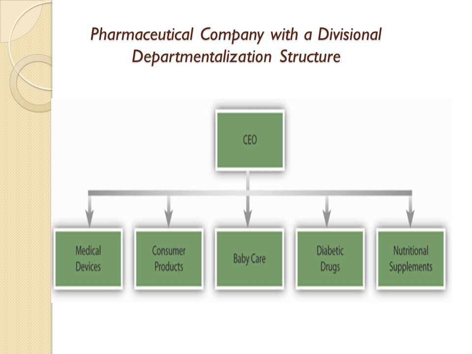 Pharmaceutical Company with a Divisional Departmentalization Structure