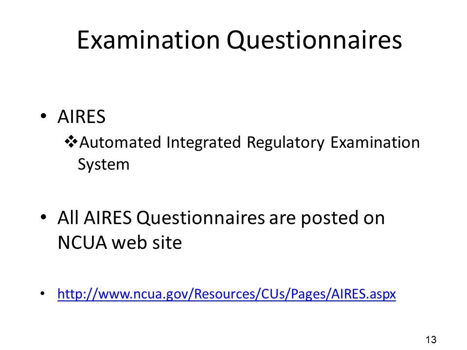Examination Questionnaires