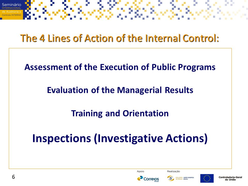 Inspection (Investigative Actions) include: Special Auditing of bodies and entities where CGU has previously identified serious problems; Investigation of citizen complaints or press publications; External Requests – inspections following requests from Public Prosecutors, Federal Police, Parliament members and other authorities; Special shared engagements with the Federal Police 7