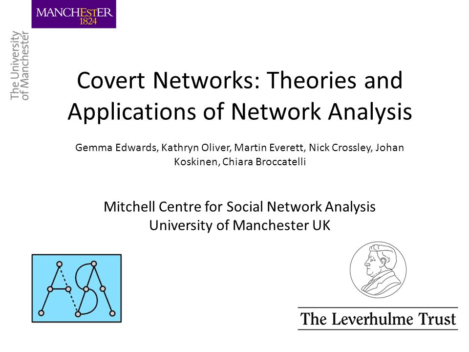 Covert Networks: Theories and Applications of Network Analysis Gemma Edwards, Kathryn Oliver, Martin Everett, Nick Crossley, Johan Koskinen, Chiara Br