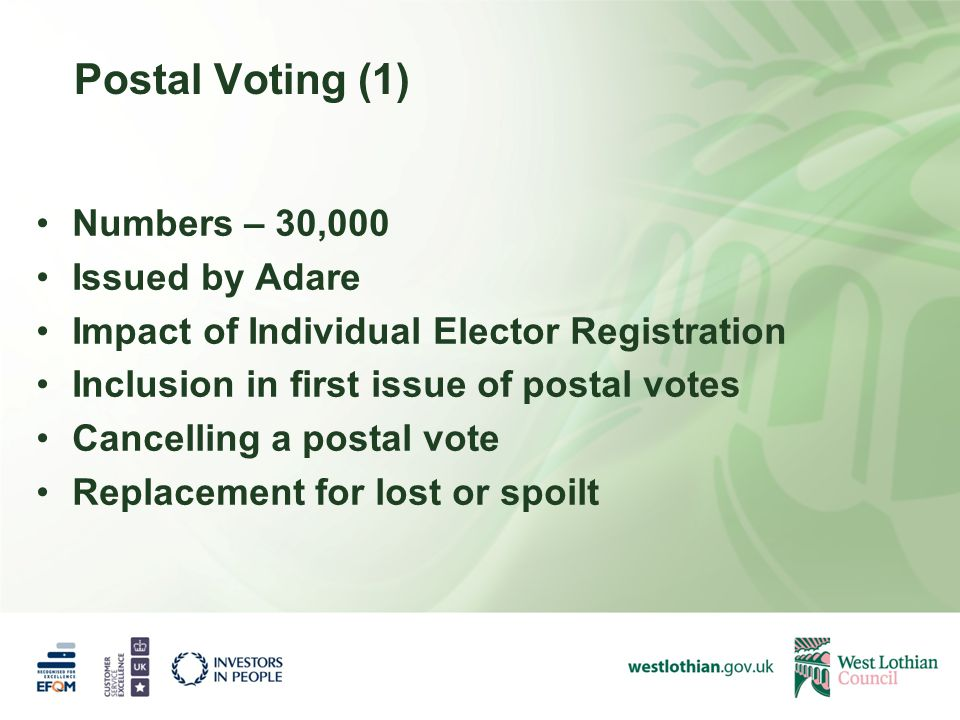 Postal Voting (1) Numbers – 30,000 Issued by Adare Impact of Individual Elector Registration Inclusion in first issue of postal votes Cancelling a postal vote Replacement for lost or spoilt