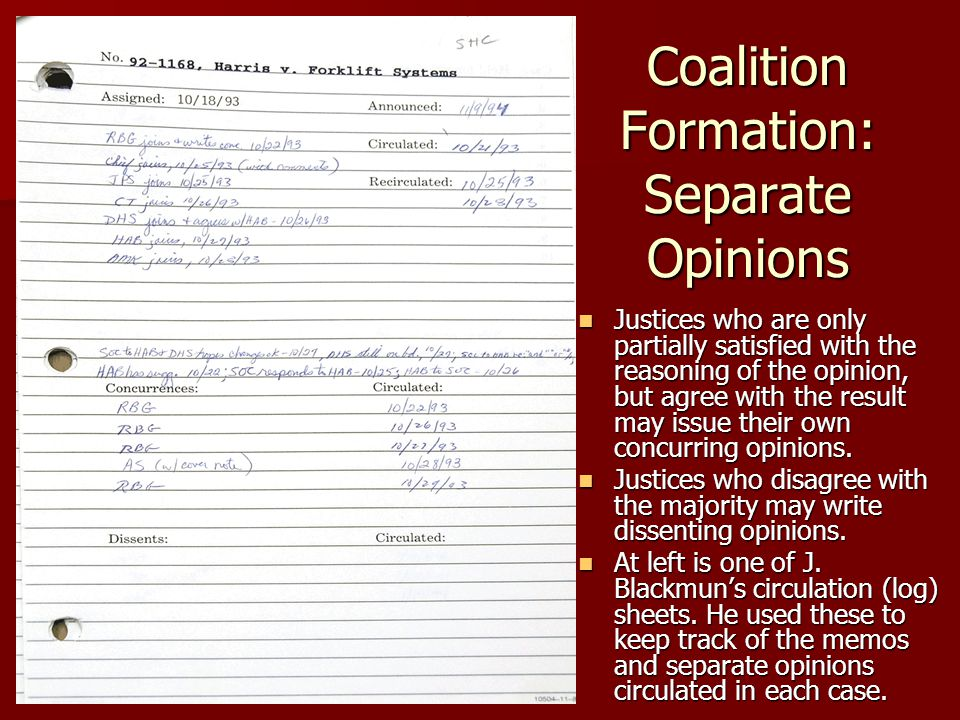 Coalition Formation: Separate Opinions Justices who are only partially satisfied with the reasoning of the opinion, but agree with the result may issu