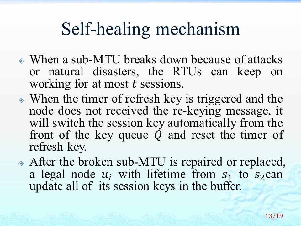 Self-healing mechanism 13/19