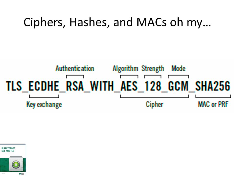 Ciphers, Hashes, and MACs oh my…