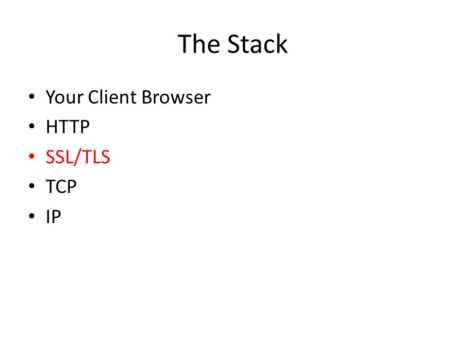 The Stack Your Client Browser HTTP SSL/TLS TCP IP