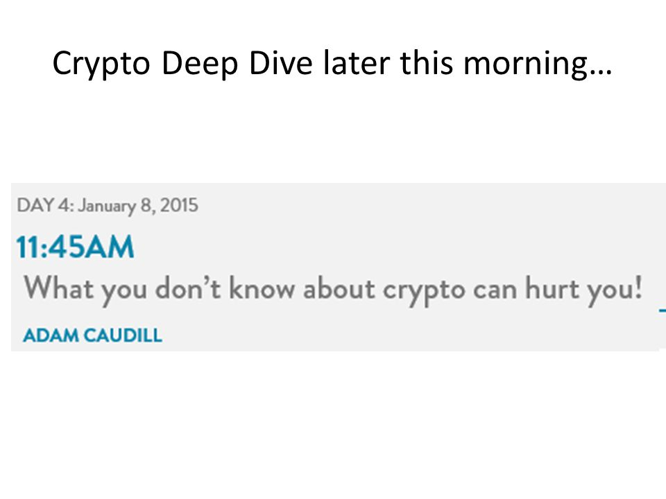 Crypto Deep Dive later this morning…