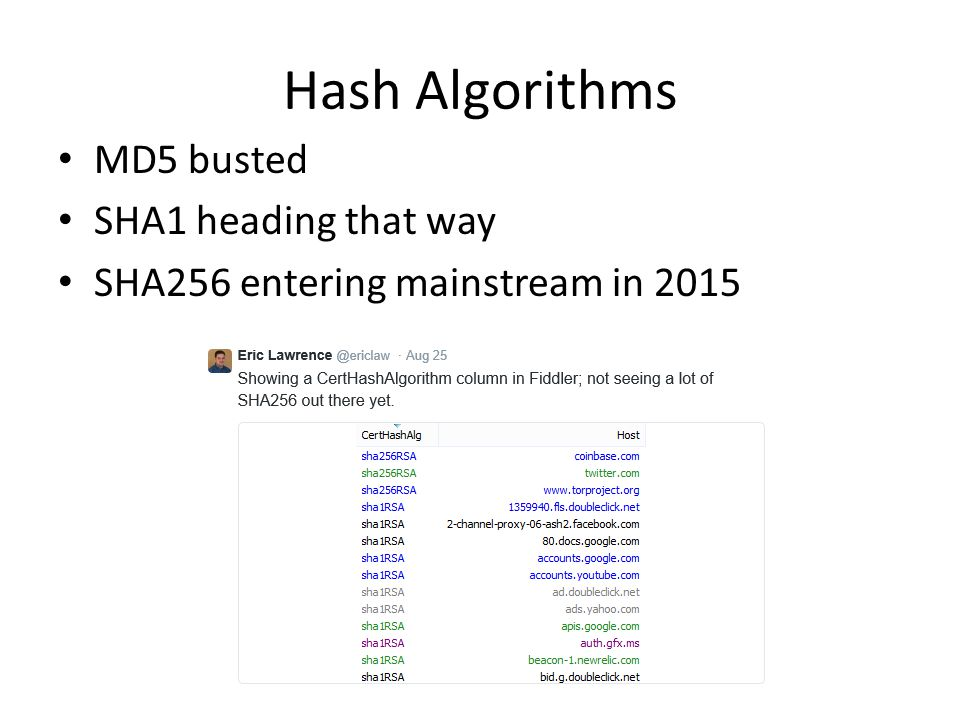 Hash Algorithms MD5 busted SHA1 heading that way SHA256 entering mainstream in 2015