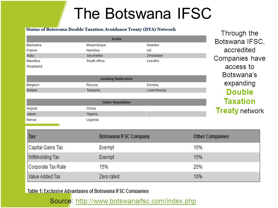 Through the Botswana IFSC, accredited Companies have access to Botswana's expanding Double Taxation Treaty network Source: http://www.botswanaifsc.com/index.phphttp://www.botswanaifsc.com/index.php The Botswana IFSC