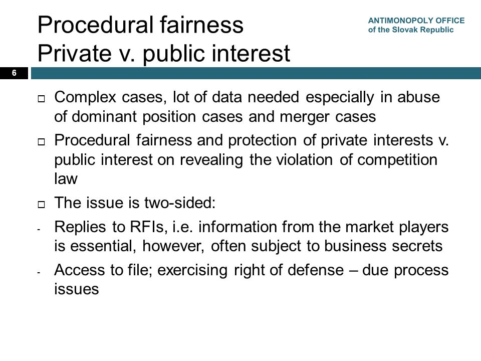 Procedural fairness Private v.