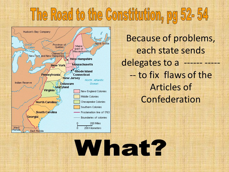 Because of problems, each state sends delegates to a ------ ----- -- to fix flaws of the Articles of Confederation