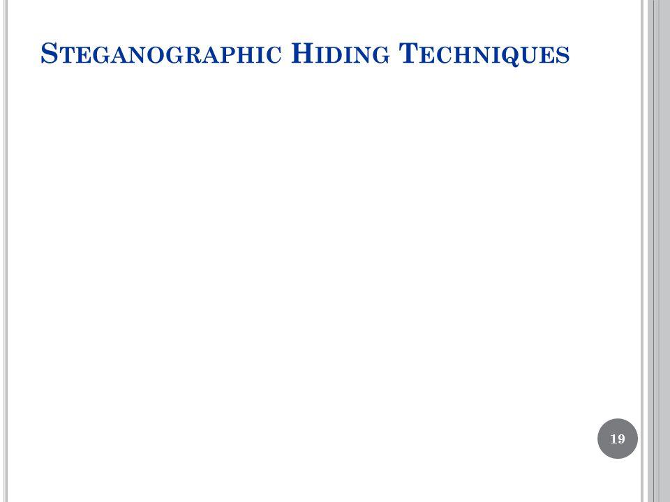 S TEGANOGRAPHIC H IDING T ECHNIQUES 19