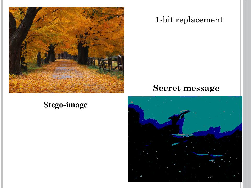 1-bit replacement Stego-image Secret message