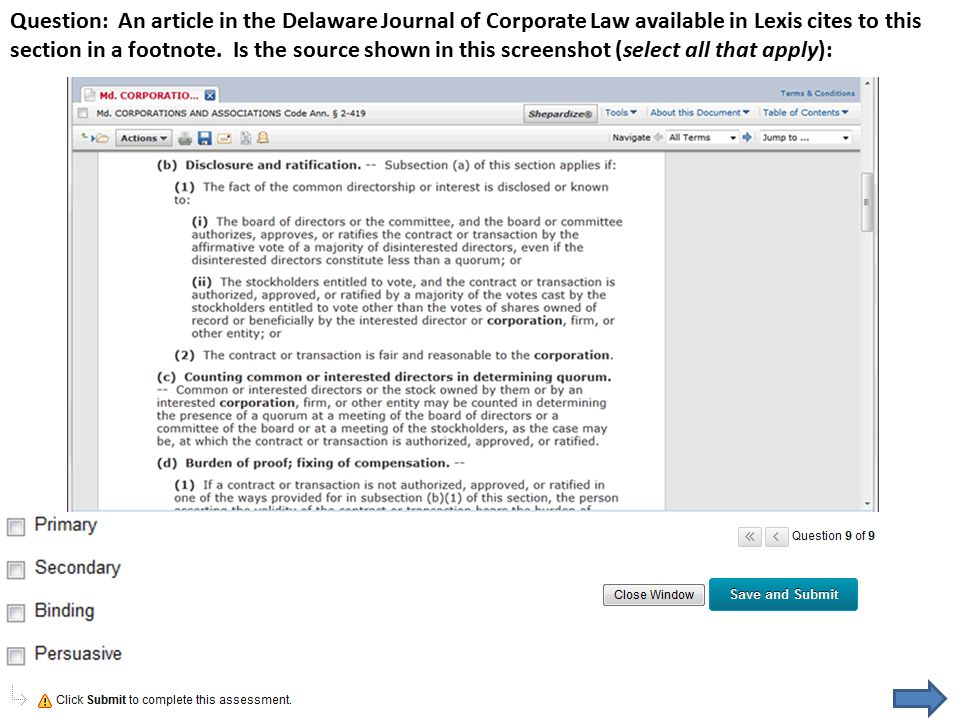Question: An article in the Delaware Journal of Corporate Law available in Lexis cites to this section in a footnote.