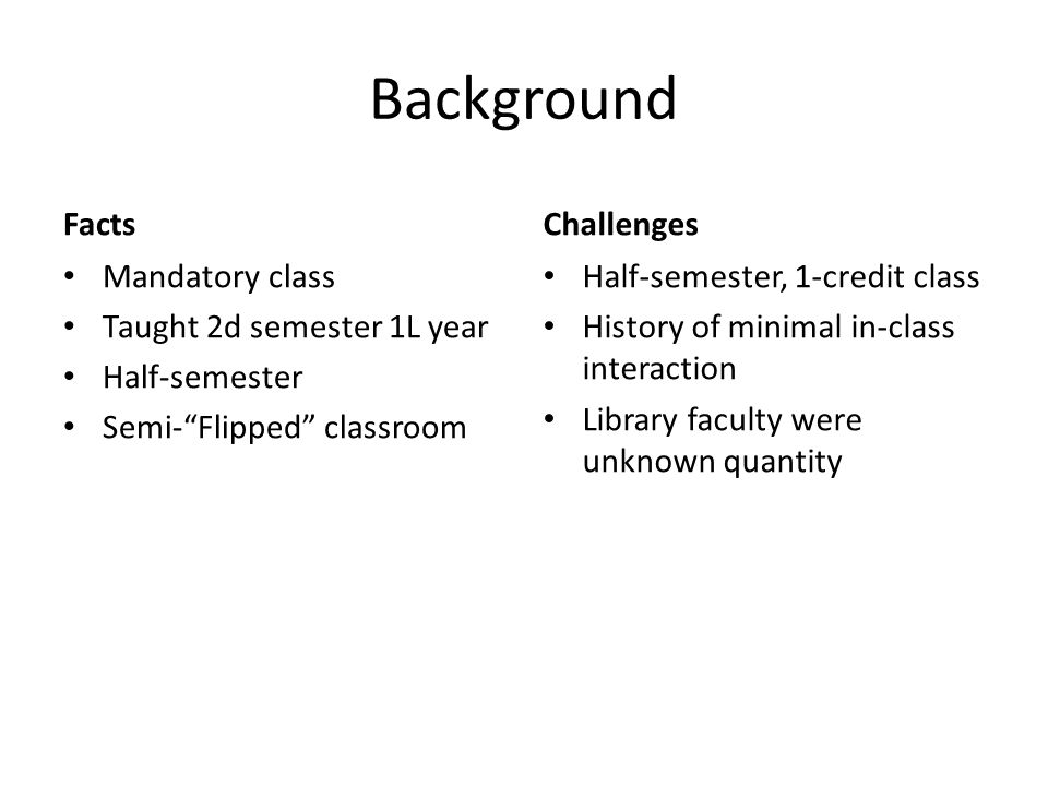 """Background Facts Mandatory class Taught 2d semester 1L year Half-semester Semi-""""Flipped"""" classroom Challenges Half-semester, 1-credit class History of"""