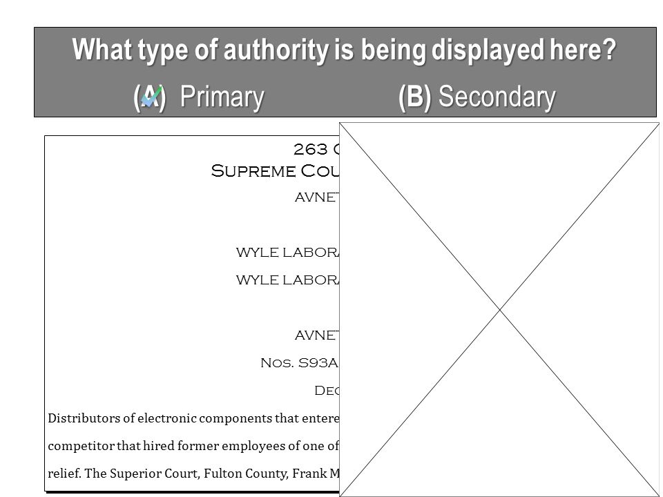 What type of authority is being displayed here. (A) Primary (B) Secondary 263 Ga.