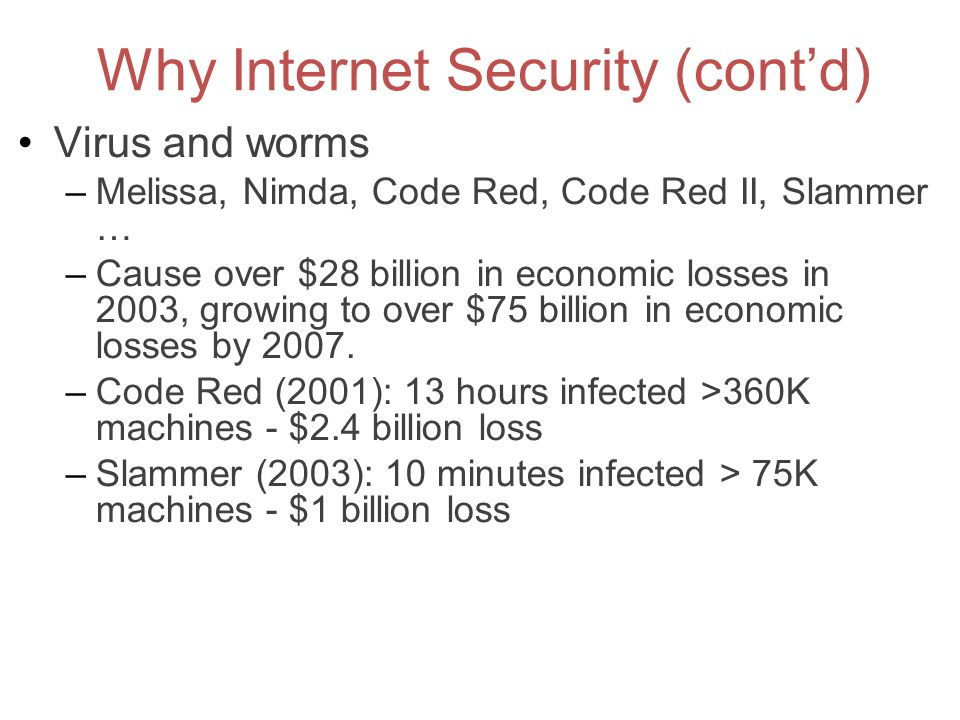 Why Internet Security (cont'd) Virus and worms –Melissa, Nimda, Code Red, Code Red II, Slammer … –Cause over $28 billion in economic losses in 2003, g
