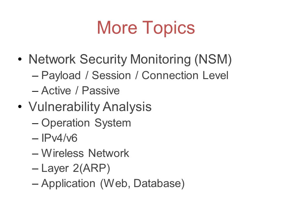 More Topics Network Security Monitoring (NSM) –Payload / Session / Connection Level –Active / Passive Vulnerability Analysis –Operation System –IPv4/v