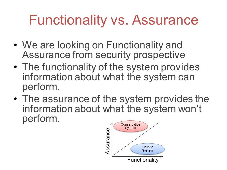 Functionality vs. Assurance We are looking on Functionality and Assurance from security prospective The functionality of the system provides informati