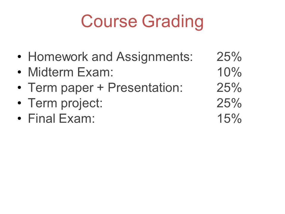 Course Grading Homework and Assignments: 25% Midterm Exam: 10% Term paper + Presentation: 25% Term project: 25% Final Exam: 15%